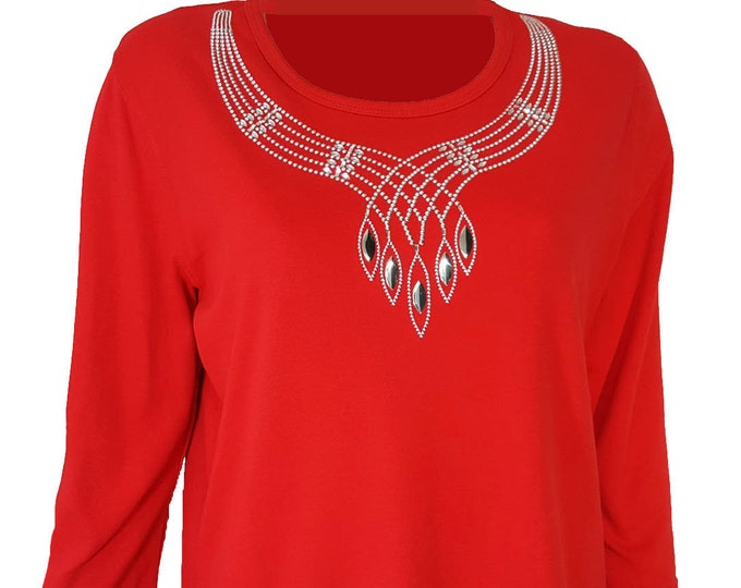 Bling Shirt Red with Silver Native American Design in Soft Combed Cotton Poly Blend.