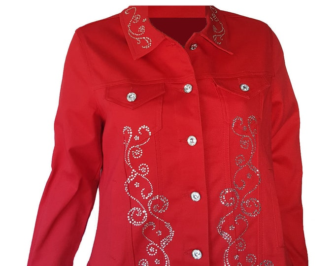 Denim Jacket Red Bling Rhinestone Embellished with Crystal Buttons. Long Sleeve, pockets and cuffs.