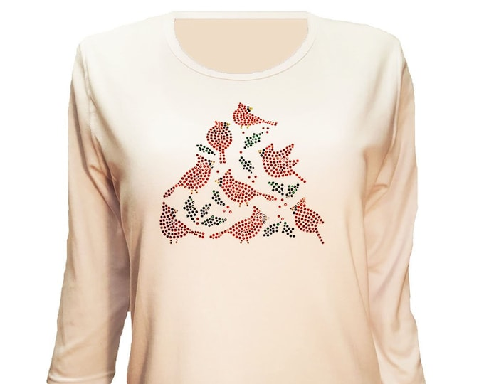 Cardinal Birds Bling White Shirt with Rhinestone Embellishment.