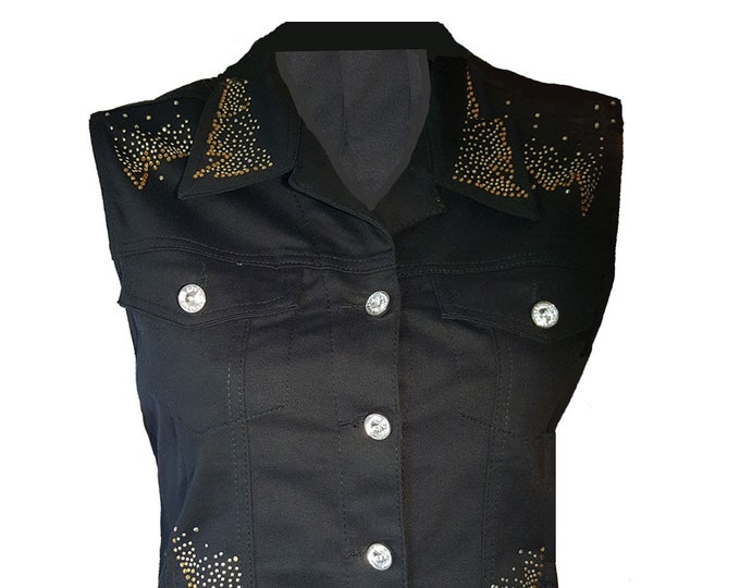 Black Denim Vest with Bling Gold Crystal Designs and Rhinestone Buttons.