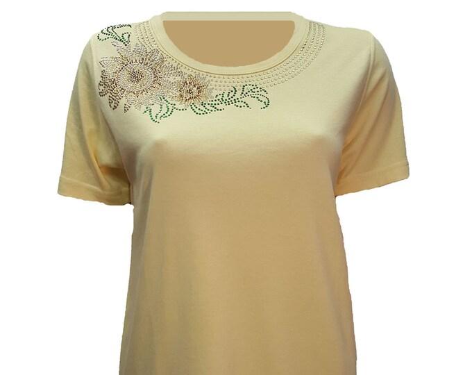 Sunflower Rhinestone Embellished Bling Yellow Short Sleeve Shirt-Small