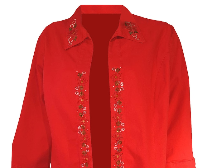 Christmas Red Duster Poinsettia Smock Swing Coat with Colorful Rhinestone designs on front and collar.