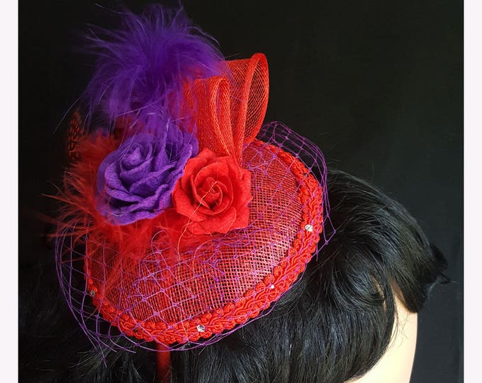 Rosy Feathers Headband Fascinator with Sinamay, Felt flowers, Feathers, Netting and Rhinestones.