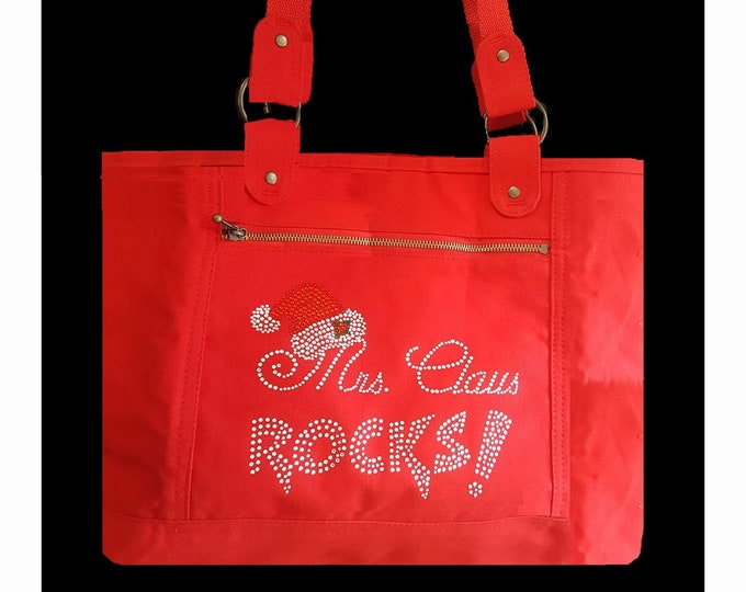 Mrs Claus Rocks Totebag Red or Black Zip