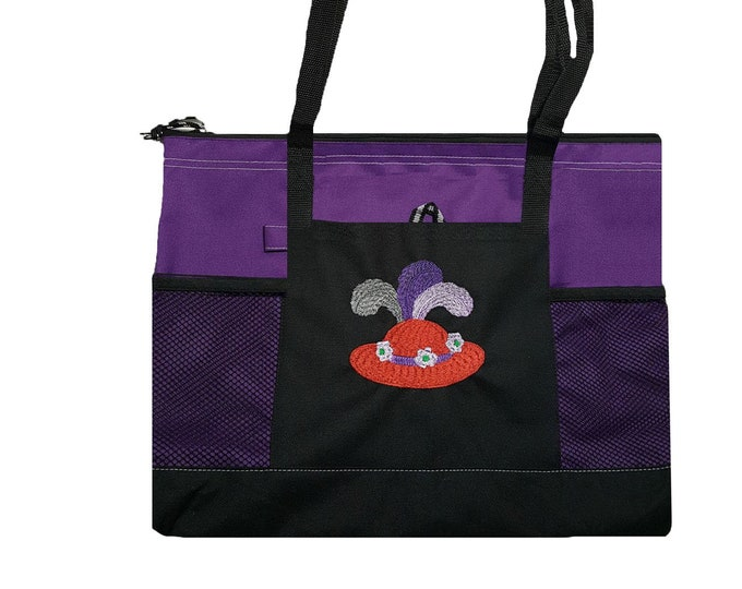 Red Hat Embroidered tote bag with zipper and pockets.