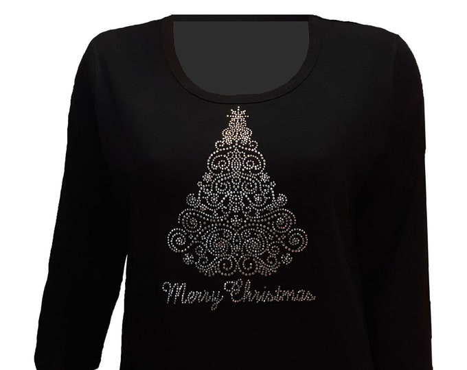 Merry Christmas Tree Bling Black Shirt with Rhinestone Embellishment. Combed Cotton Poly Blend.