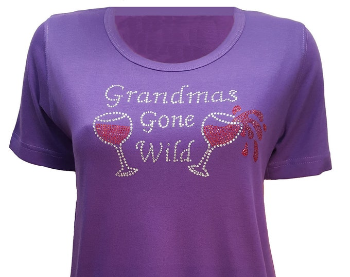 Grandmas Gone Wild  fashion t-shirt in short or 3/4 sleeves. Pretty design on purple cotton poly shirt.