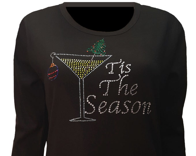 "Bling Black Christmas Shirt ""Tis the Season"" with Rhinestone Embellishment. Soft flexible light weight design. Combed cotton poly blend."