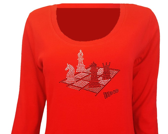 Chess Game Board Bling Red Shirt with Rhinestone and Rhinestud Embellishment. Combed cotton poly blend.