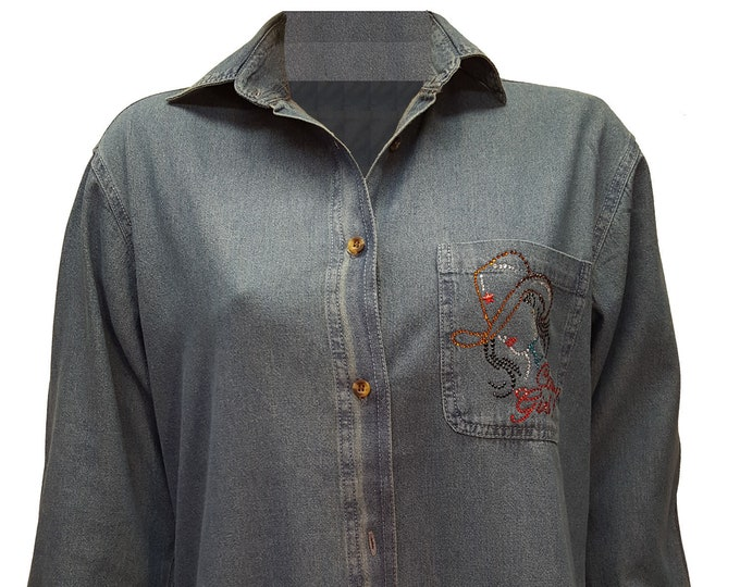 Denim Shirt Tunic with Country Girl Bling Rhinestone Embellished Design.