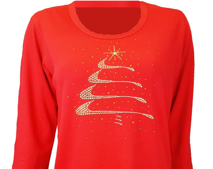 Christmas Tree Gold Swirl Design Bling Shirt. Rhinestone and Rhinestud Embellished Red top.
