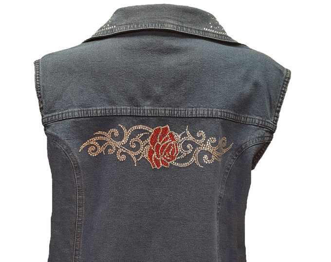 Blue Denim Bling Vest with Tribal Rose Design Rhinestone Buttons and Crystal Embellishment.