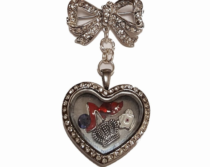 Heart Shaped Brooch Pin with Stainless Steel Rhinestone encrusted memory locket and charms.
