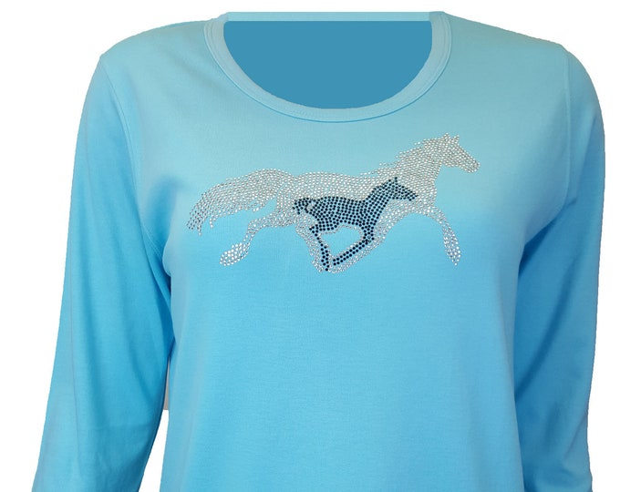 Running Horses Native American rhinestone bling aqua shirt with scoop neck and 3/4 sleeves