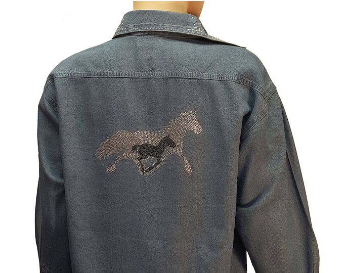 Denim Bling Shirt with Running Horses Rhinestone Design and Bling Collar in stone wash distressed fabric.