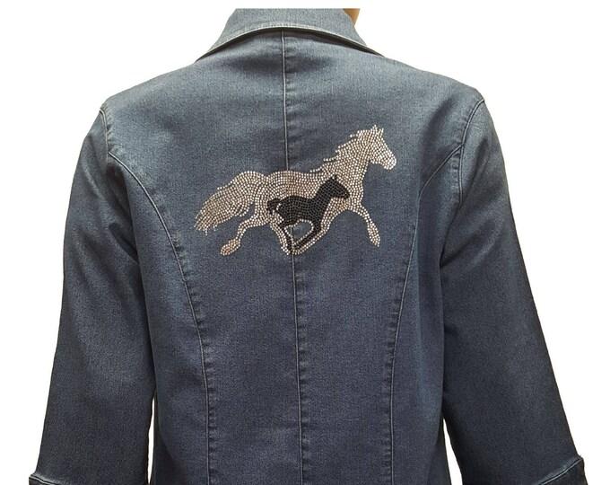 Bling denim stretch jacket blue duster with Running Horses rhinestone embellishment.