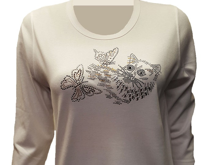 Cat playing with Butterflies Bling Shirt with Rhinestone and Rhinestud Embellishment.