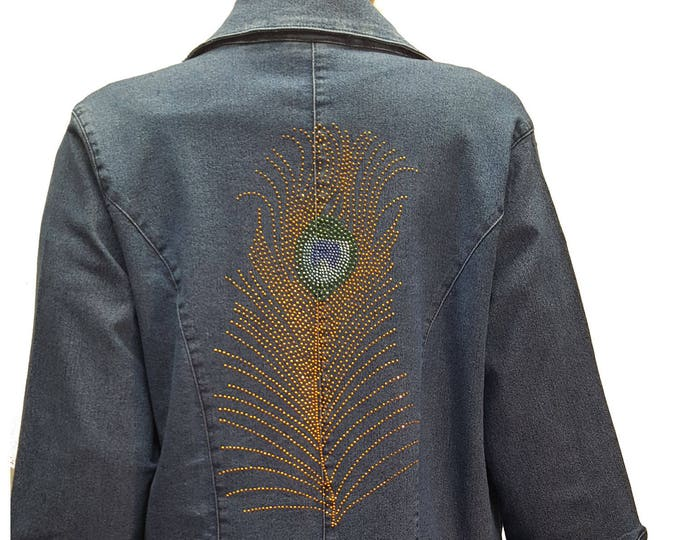 Peacock Feather Bling denim stretch jacket blue duster with rhinestone embellishment.