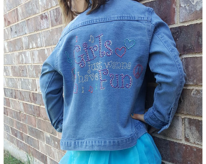 "Girl's Jacket Bling ""Girls Wanna Have Fun"" light jacket with long sleeves,and pockets."