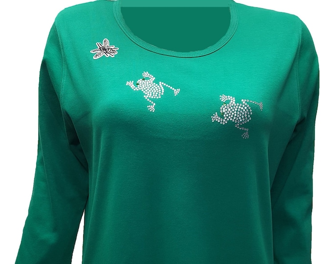 Frogs and Bee Rhinestone Embellished Shirt. Light weight flexible design on combed cotton green fabric.