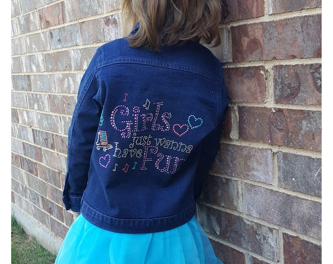 "Girl's Jacket Bling ""Girls Wanna Have Fun"" dark denim jacket with long sleeves,and pockets."