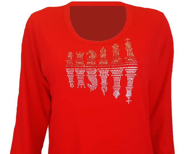 Chess Game Reflection Bling Red Shirt with Rhinestone Embellishment. Combed cotton poly blend.