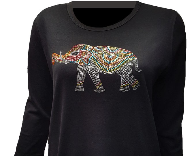Elephant Bling Shirt with Rhinestone Embellishment. Soft flexible light weight design. Combed cotton poly blend.