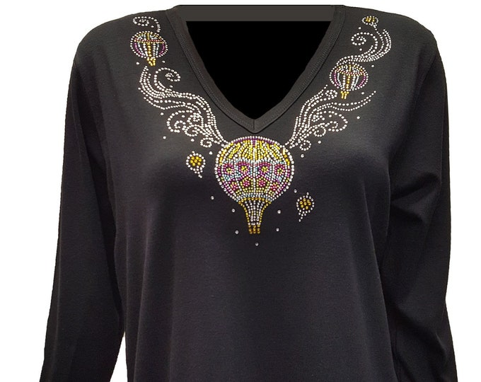 Hot Air Balloon Bling Neckline Shirt with Rhinestone Embellishment.