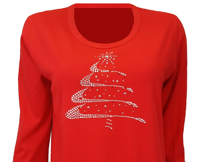 Christmas Tree Silver Swirl Design Bling Shirt. Rhinestone and Rhinestud Embellished Red top.
