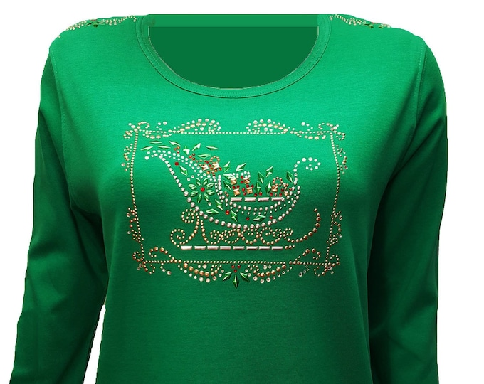 Christmas Bling Santa Sleigh Rhinestone Embellished Shirt. Light weight flexible design on combed cotton fabric.