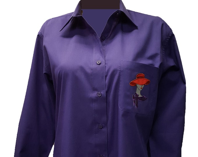 Dark Skin Sequin Lady on pocket of Red Hat Society purple button up shirt with rhinestone design on back.