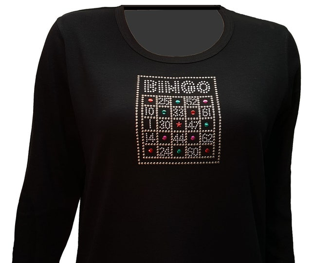 Bingo Bling Shirt with Rhinestone Embellishment. Soft flexible light weight design. Combed cotton poly blend.