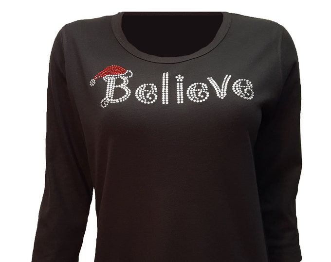 Believe Santa Bling Christmas Shirt. Combed cotton poly blend.