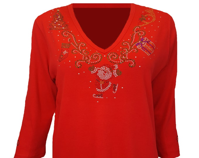 Christmas Bling Shirt with Santa and his sleigh, stocking and tree along a red v neckline. Rhinestone Embellished Red top.