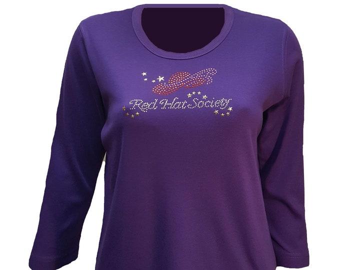 Red Hat Society fashion t-shirt rhinestone flair. Pretty design on purple cotton poly shirt.