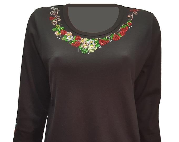 Bling shirt strawberry rhinestone embellishment on scoop neckline. Comfortable and light weight.