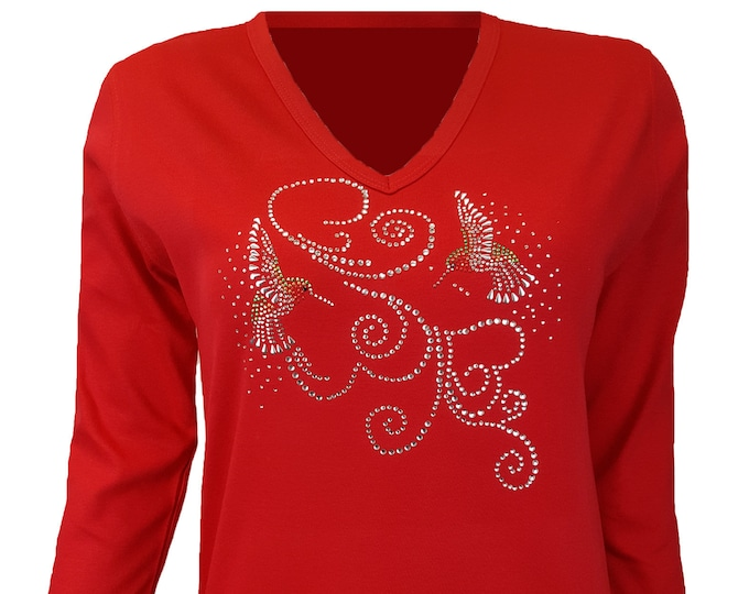 Hummingbird Rhinestone and Rhinestone Embellished V Neck Bling Red Shirt