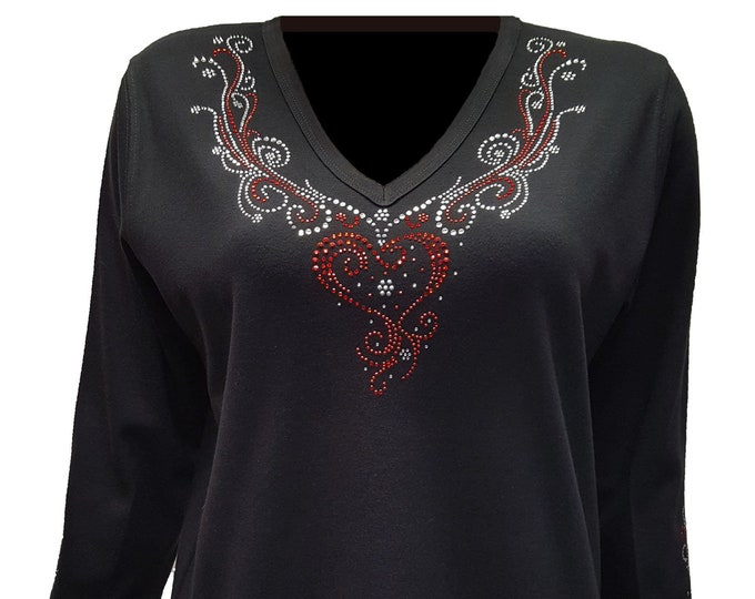 Heart V-Neckline Shirt with Rhinestone Embellishment.
