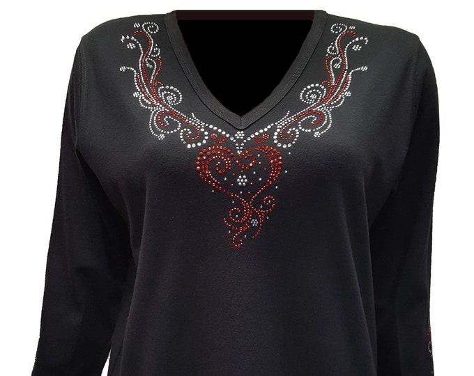 Heart V-Neckline Shirt with Rhinestone Embellishment.