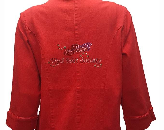 Red Hat Society Duster with Red Hat bling on a 3/4 sleeve jacket.
