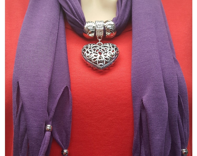 Purple Scarf with Metal Heart and Beads