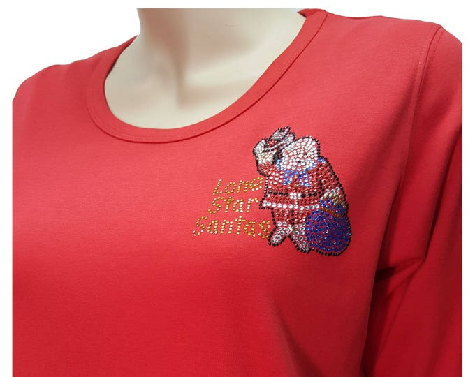 Lonestar Santas Logos Bling Christmas Red Shirt with Rhinestone Embellishment front and back.