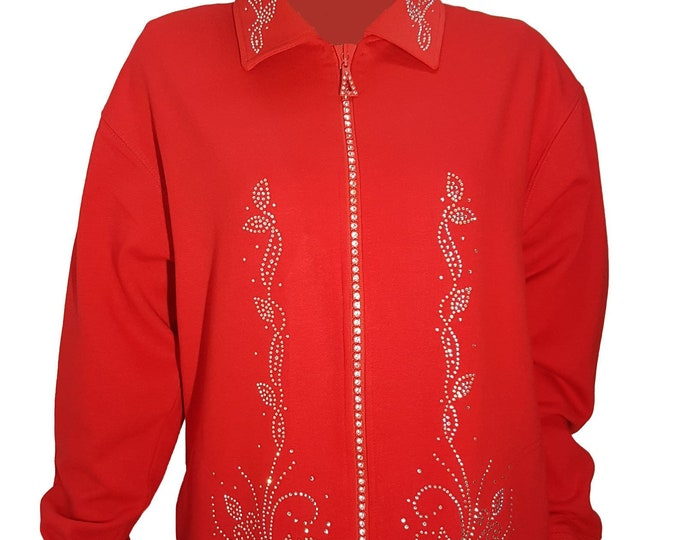 Red Fleece Lined Cardigan with Crystal Zipper, Rhinestone Flowers and Bling Collar.