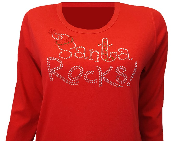 Christmas Bling Red Shirt with Santa Rocks Design. Rhinestone Embellished top.
