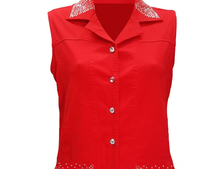 Red Denim Bling Vest with Rhinestone Buttons and Crystal Embellishment.