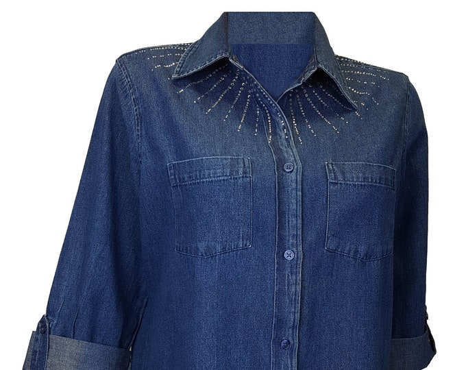 Blue denim bling tunic shirt with rhinestone embellished neckline