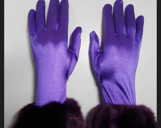 Gloves Purple stretch satin with purple faux fur cuffs. M-XL