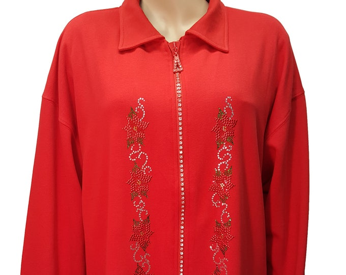 Mrs Claus Rocks Rhinestone Poinsettia Red Fleece Lined Cardigan Jacket with Crystal Zipper.