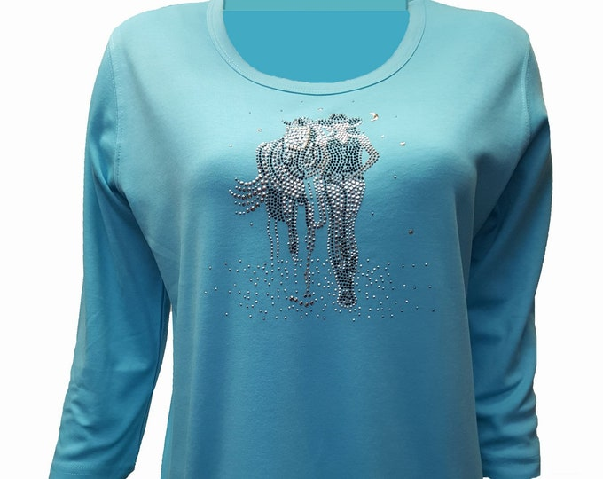 Horse and Cowgirl rhinestud bling aqua shirt with scoop neck and 3/4 sleeves