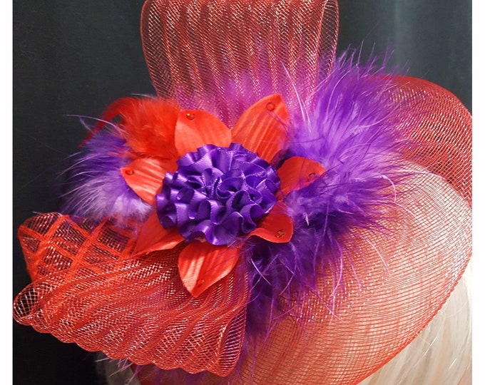 Feathers Fluff Headband Fascinator with Red Netting, Satin flowers, Feathers and Rhinestones.